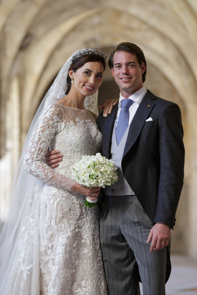 SAINT-MAXIMIN-LA-SAINTE-BAUME, FRANCE - SEPTEMBER 21:  In this handout image provided by the Grand-Ducal Court of Luxembourg, Princess Claire Of Luxembourg and Prince Felix Of Luxembourg pose for an official photo inside the Couvent Royal De Saint-Maximin after their wedding ceremony which took place at the Basilique Sainte Marie-Madeleine on September 21, 2013 in Saint-Maximin-La-Sainte-Baume, France. ?Grand-Ducal Court/Guy Wolff/All rights reserved.  (Photo by Handout/Getty Images)