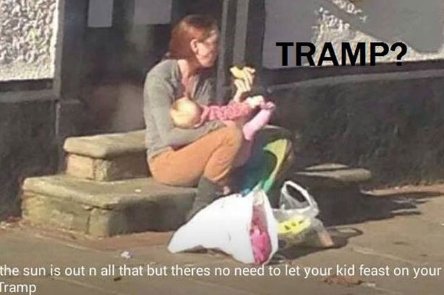 Emily Louise Slough called a tramp for breastfeeding in public