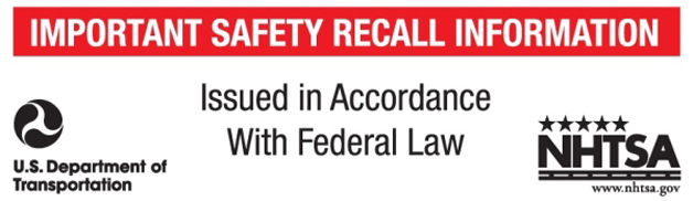 NHTSA recall mail label