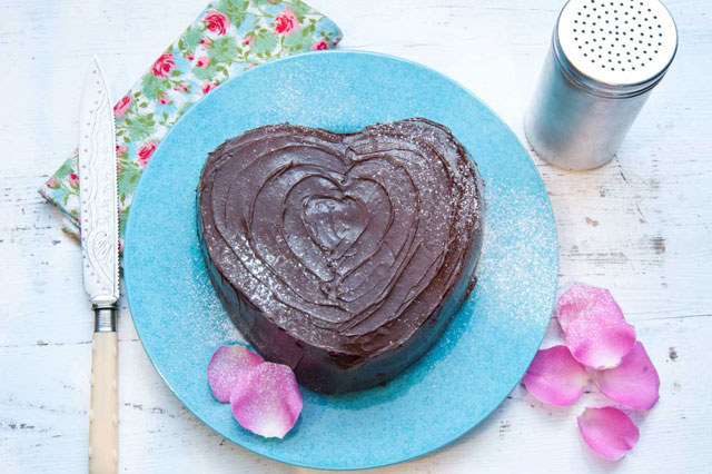 Heart-shaped chocolate cake for Valentine's Day from Masterchef winner