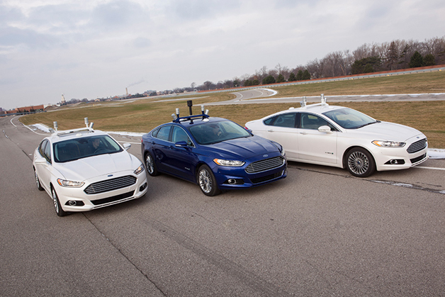 Three Ford Fusion Hybrid Autonomous vehicles