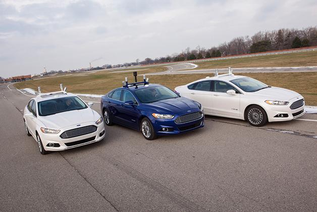 Three Ford Fusion Hybrid Autonomous vehicles