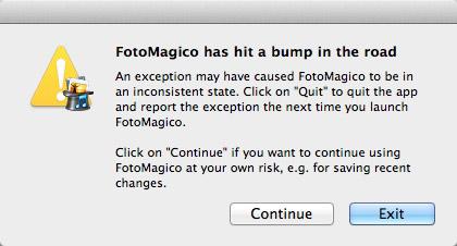 FotoMagico Problem screen shot
