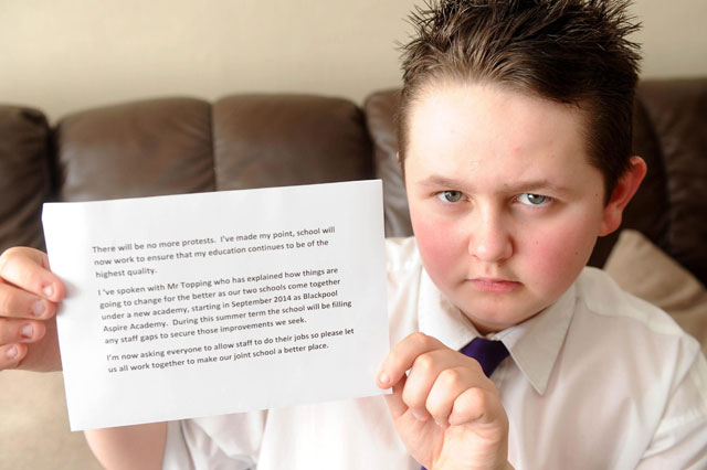 Aaron Parfitt excluded for protest over homework