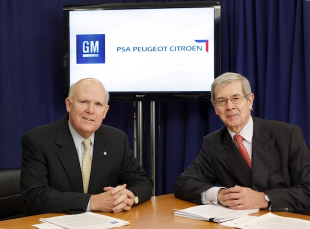 General Motors Chairman and CEO Dan Akerson (left) with PSA Peugeot Citro?n Chairman of the Managing Board Philippe Varin Wednesday, February 29, 2012 in New York, New York. GM and PSA Peugeot Citro?n today announce a strategic alliance that will profit both companies and improve their competitiveness in Europe. As part of the agreement, GM plans to acquire a 7 percent equity stake in PSA Peugeot Citro?n, making it the second largest shareholder behind the Peugeot Family Group. The alliance is structured around the sharing of vehicle platforms, components and modules; and the creation of a global purchasing joint venture. Each company will continue to market and sell its vehicles independently and on a competitive basis. (Photo by Stuart Ramson for General Motors)