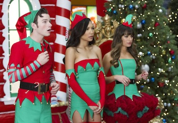 GLEE: Kurt (Chris Colfer, L), Santana (Naya Rivera, C) and Rachel (Lea Michele, R) work as Santa's elves at a mall in the