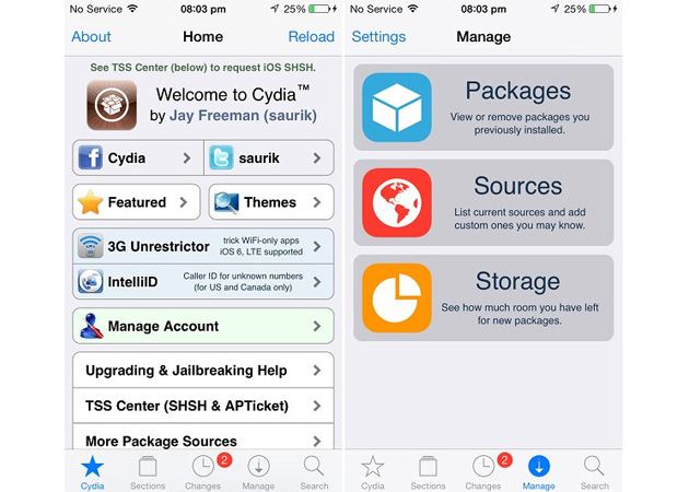 Cydia on iOS 7