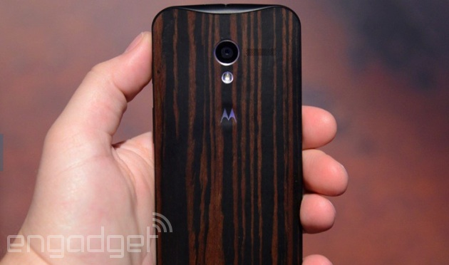 Moto X in a dark wood finish