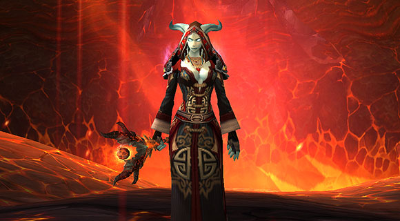 A draenei mage in front of a firey background