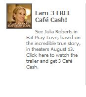 Cafe World: Earn 3 free Cafe Cash by watching a movie trailer