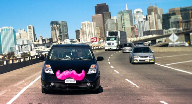 Lyft ridesharing car on the road