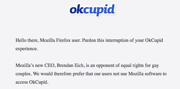 Continúan quejas contra el nuevo CEO de Mozilla, ahora por parte de OkCupid