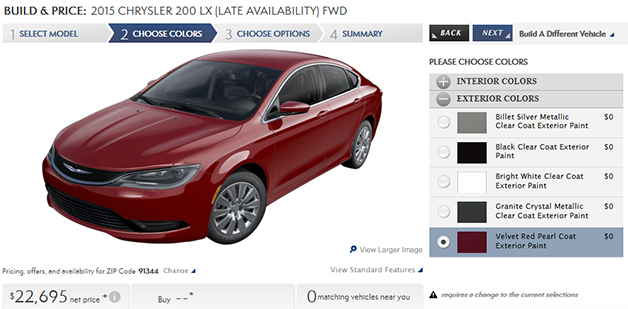 Screenshot of the configurator for the 2015 Chrysler 200