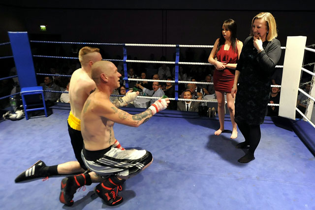 Boxers Adrian Firkins and Rick Welsby proposed to girlfriends in the ring