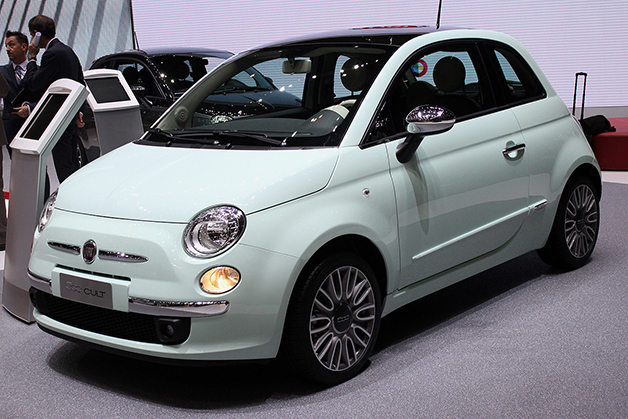 The Fiat 500 Cult Edition at the 2014 Geneva Motor Show, front three-quarter view