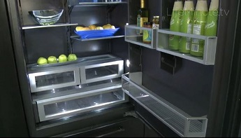 black interior of ergonomic refrigerator