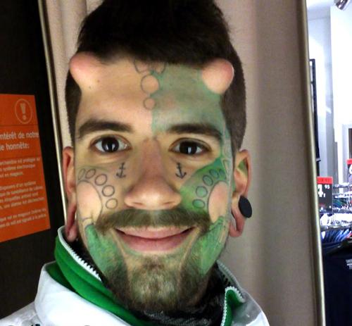 worst face tattoos monster green