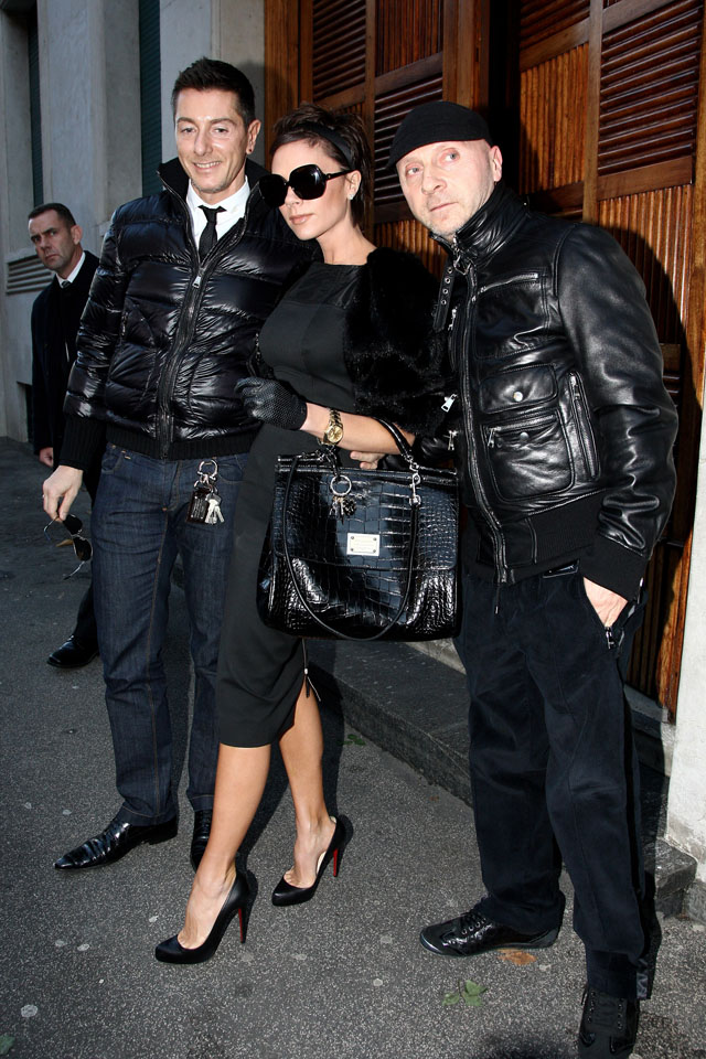 MILAN, ITALY - DECEMBER 21:  (L-R) Stefano Gabbana, Victoria Beckham and Domenico Dolce are seen December 21, 2008 in Milan, Italy.  (Photo by Vittorio Zunino Celotto/Getty Images) *** Local Caption *** Stefano Gabbana;Victoria Beckham;Domenico Dolce