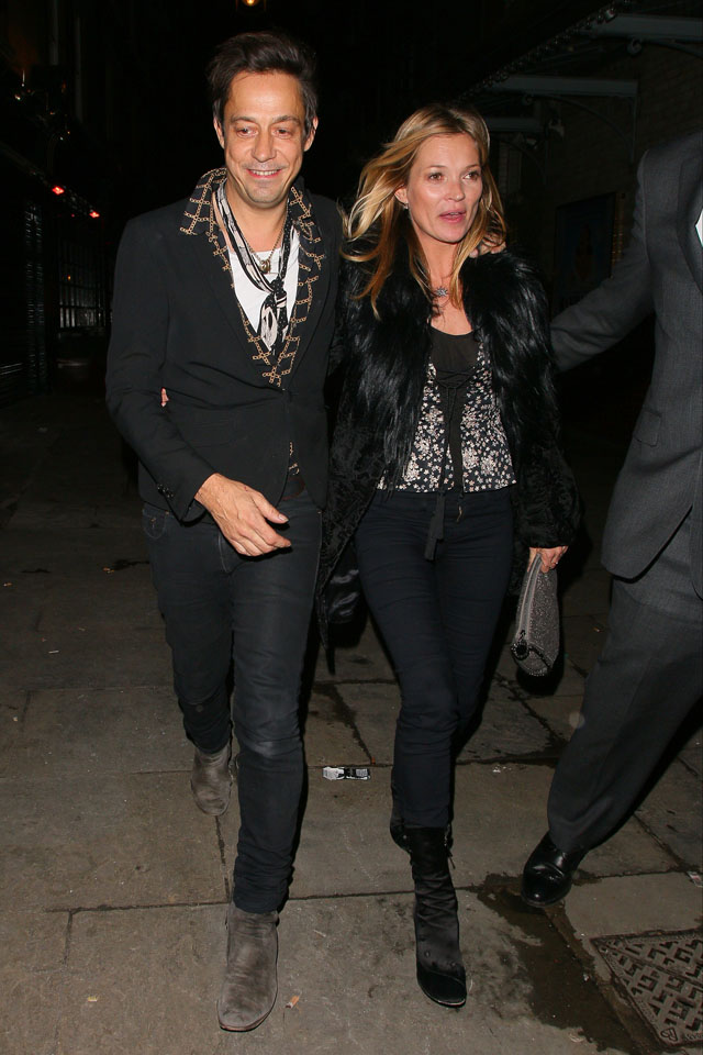 LONDON, UNITED KINGDOM - FEBRUARY 05: Jamie Hince and Kate Moss at J. Sheeky restaurant on February 5, 2014 in London, England. (Photo by Mark Robert Milan/FilmMagic)