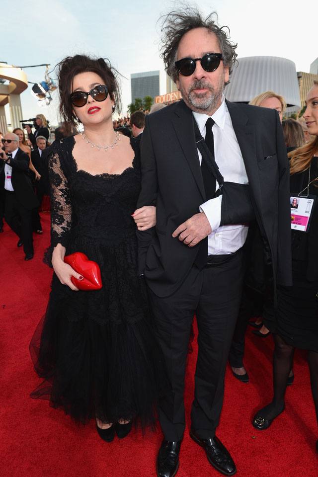 BEVERLY HILLS, CA - JANUARY 13:  70th ANNUAL GOLDEN GLOBE AWARDS -- Pictured: Actress Helena Bonham Carter and director Tim Burton arrive to the 70th Annual Golden Globe Awards held at the Beverly Hilton Hotel on January 13, 2013.  (Photo by Alberto Rodriguez/NBC/NBC via Getty Images)