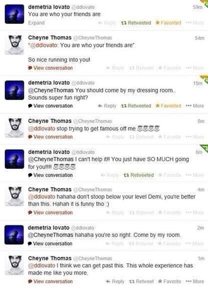 Demi Lovato and Cheyne Thomas Twitter fight