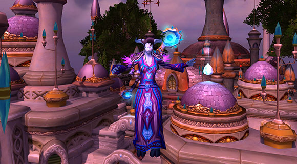 A draenei mage wearing a purple robe floats in midair above the city of Dalaran