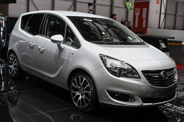 The Opel Meriva at the 2014 Geneva Motor Show, front three-quarter view