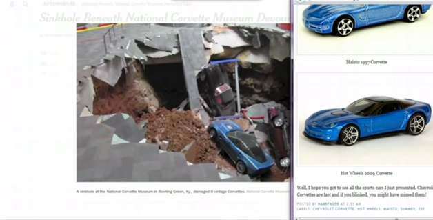 Corvette sinkhole hoax video screen grab