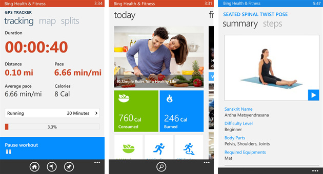 Bing Health and Fitness for Windows Phone