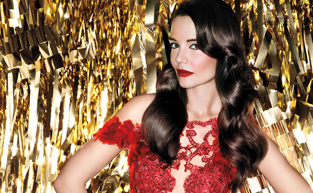 Katie Holmes amps up the old Hollywood glam for Bobbi Brown Holiday