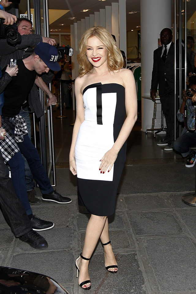 kylie-minogue-paris-monochrome-dress-kiss-me-once