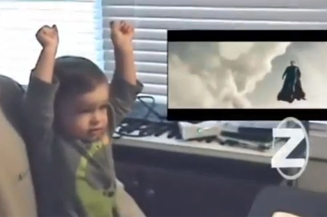 little boy, toddler, baby, watching superman