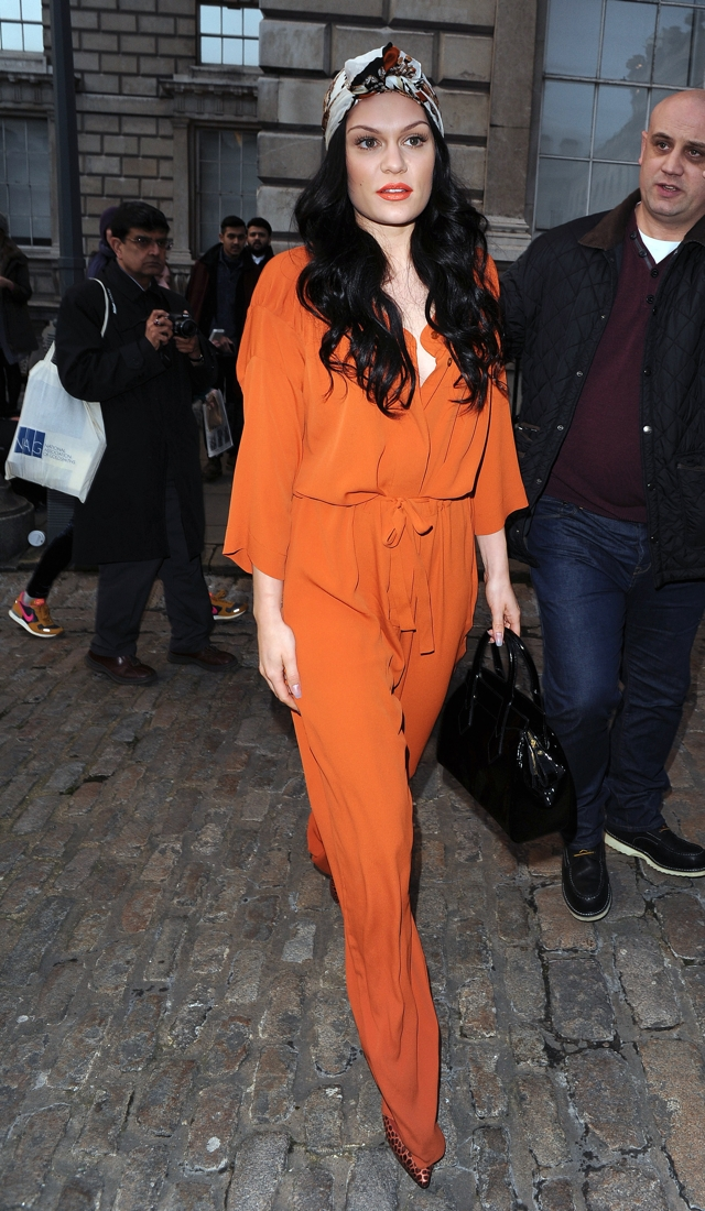 jessie-j-orange-jumpsuit-vivienne-westwood-london-fashion-week