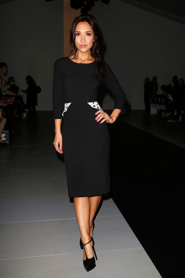 LONDON, ENGLAND - FEBRUARY 14: Myleene Klass attends the Jean-Pierre Braganza show at London Fashion Week AW14 at Somerset House on February 14, 2014 in London, England.  (Photo by Tristan Fewings/Getty Images)
