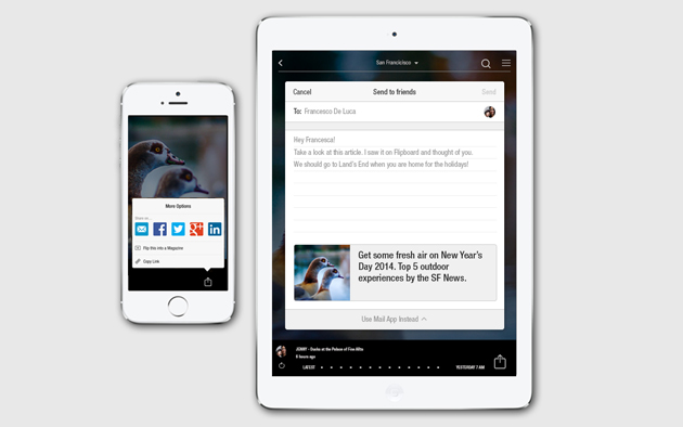 Article sharing in Flipboard for iOS