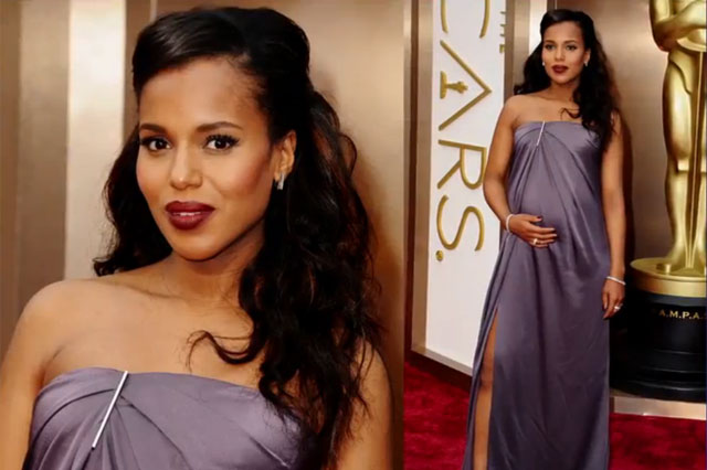 Kerry Washington pregnant at 2014 Oscars