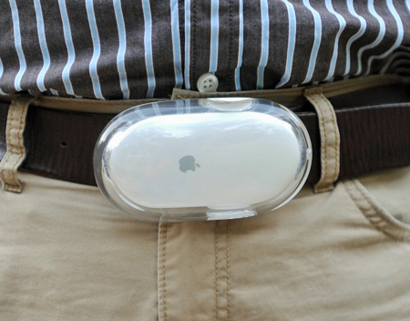 apple mouse as a belt buckle