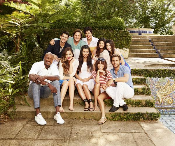 KEEPING UP WITH THE KARDASHIANS -- Season 8 -- PIctured: (l-r) Lamar Odom, Rob Kardashian, Khloe Kardashian Odom, Bruce Jenner, Kim Kardashian, Kris Jenner, Kylie Jenner, Kourtney Kardashian, Kendall Jenner, Scott Disick -- (Photo by: Brian Bowen Smith/E!)