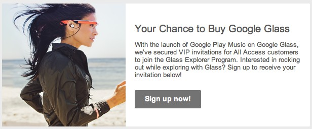 Los subscriptores de Play Music All Access comienzan a recibir invitaciones para comprar Google Glass