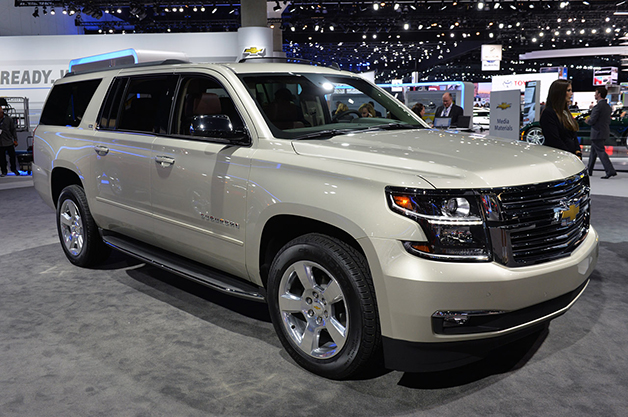 The 2015 Chevrolet Suburban at the 2014 LA Auto Show, front three-quarter view