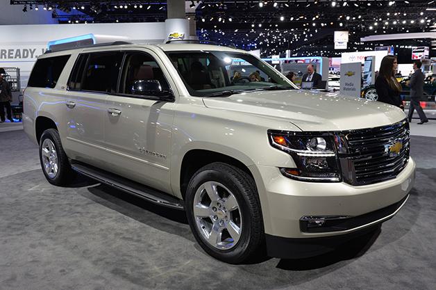The 2015 Chevrolet Suburban at the 2014 LA Auto Show, front three-quarter view