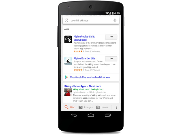 Google app search on Android