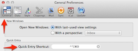 OmniFocus Quick Entry Preferences