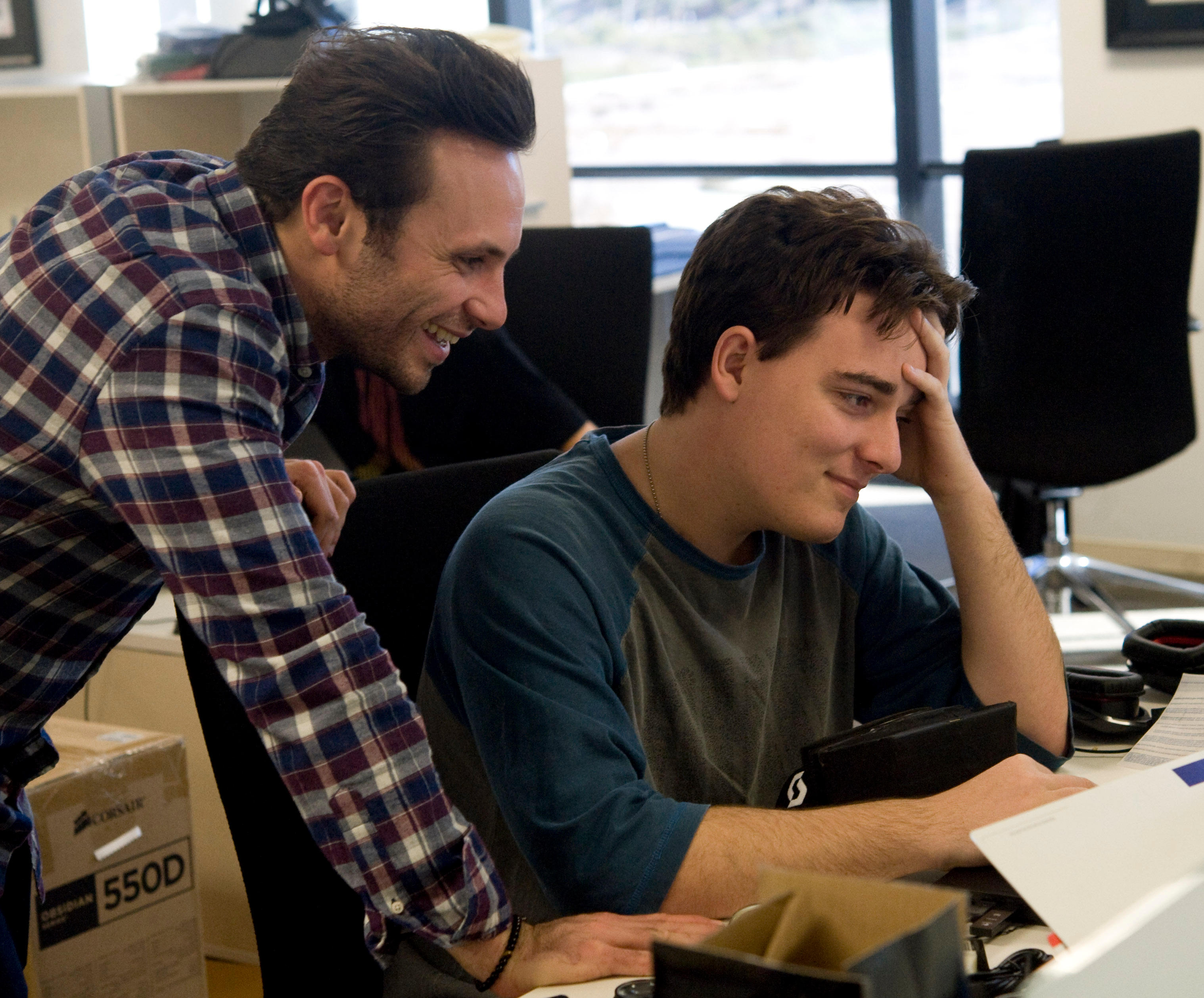 Nov. 13, 2012 - Irvine, California, U.S. - Oculus VR CEO Brendan Iribe, left, and founder and inventor  Palmer Luckey work at th