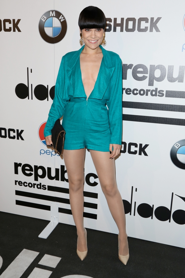 jessie-j-green-playsuit-post-grammy-party