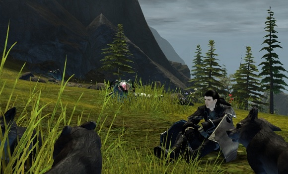 Player character surrounded by fluffy wolf pups. Awww.