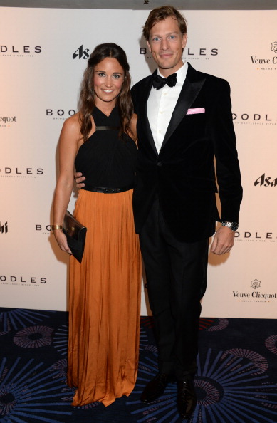 LONDON, UNITED KINGDOM - SEPTEMBER 21: In this handout image provided by the Boodles Boxing Ball Committee, Pippa Middleton and Nico Jackson pose at the Boodles Boxing Ball 2013 on September 21, 2013 at the Grosvenor House in London,England. (Photo by Dominic O'Neill/Boodles Boxing Ball Committee via Getty Images)