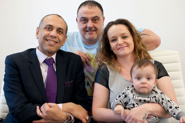 Kelly Moseley with husband Alan, baby Tyler and miscarriage consultant Hassan Shehata
