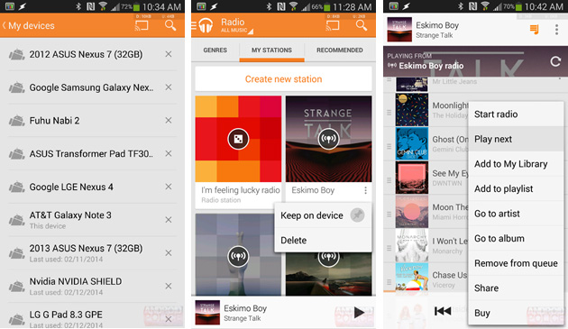 Offline radio in Google Play Music for Android