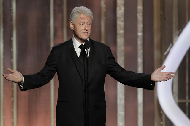 BEVERLY HILLS, CA - JANUARY 13: In this handout photo provided by NBCUniversal,  Former US President Bill Clinton on stage to present during the 70th Annual Golden Globe Awards at the Beverly Hilton Hotel International Ballroom on January 13, 2013 in Beverly Hills, California. (Photo by Paul Drinkwater/NBCUniversal via Getty Images)